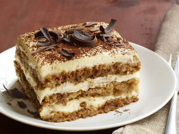 "Tiramisu by Food Network. This espresso-spiked treat is the ultimate dessert. It means ""pick me up"" in Italian."