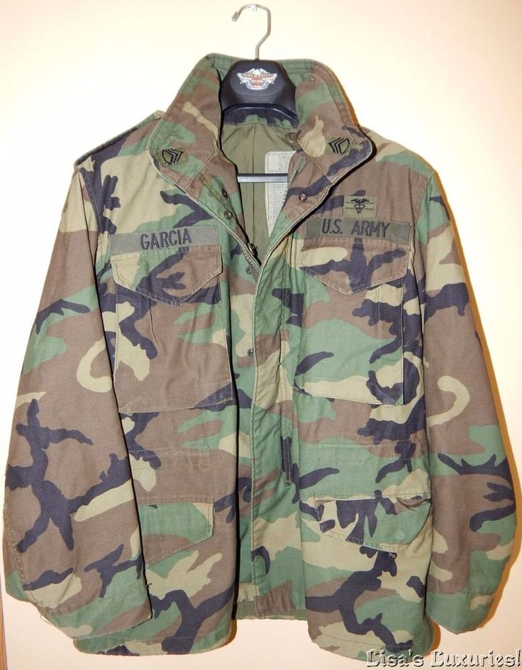 Mens US Army M-65 Camouflage Military Field Jacket ALPHA INDUSTRIES named Garcia…