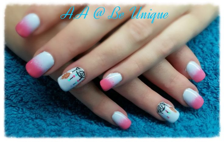 Nails done by Angelique Allegria. #pink #ombre #french #dreamcatchers #nailart #BeUnique @angiedsa