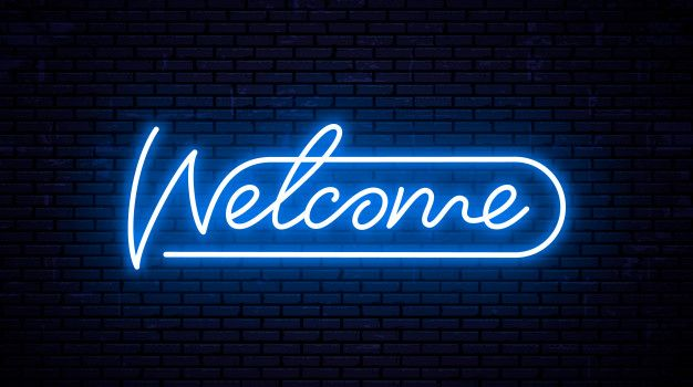 Welcome Inscription Template For Neon Signboard Glowing Text On Wall Neon Glow Text Twitter Banner