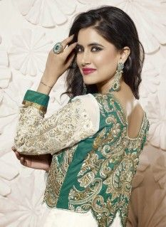 Off White And Green Ankle Length Georgette Anarkali Suit with Pure Chiffon Dupatta