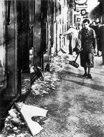 Berlin, Germany, November 1938, Damaged Jewish shops after Kristallnacht.