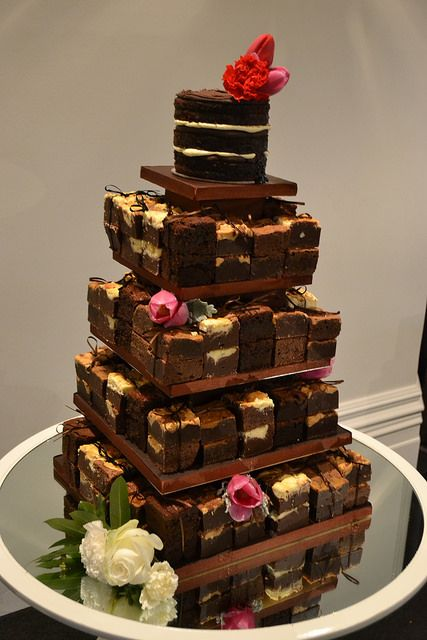Brownie tower wedding cake - Naked cake top tier, with stacks of brownies - cream cheese brownies, salted caramel brownies, peanut butter brownies and gluten free frudge brownies.  Miss Ladybird Cakes - Melbourne weddings