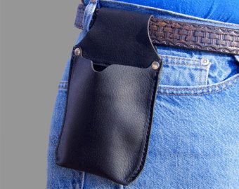 Phone Holster * Black Leather Cell Phone Belt case * Black Leather IPhone Case * Phone Pouch * iPhone Holster  Kodiak Leather * IPhone case by CrawdadLeather