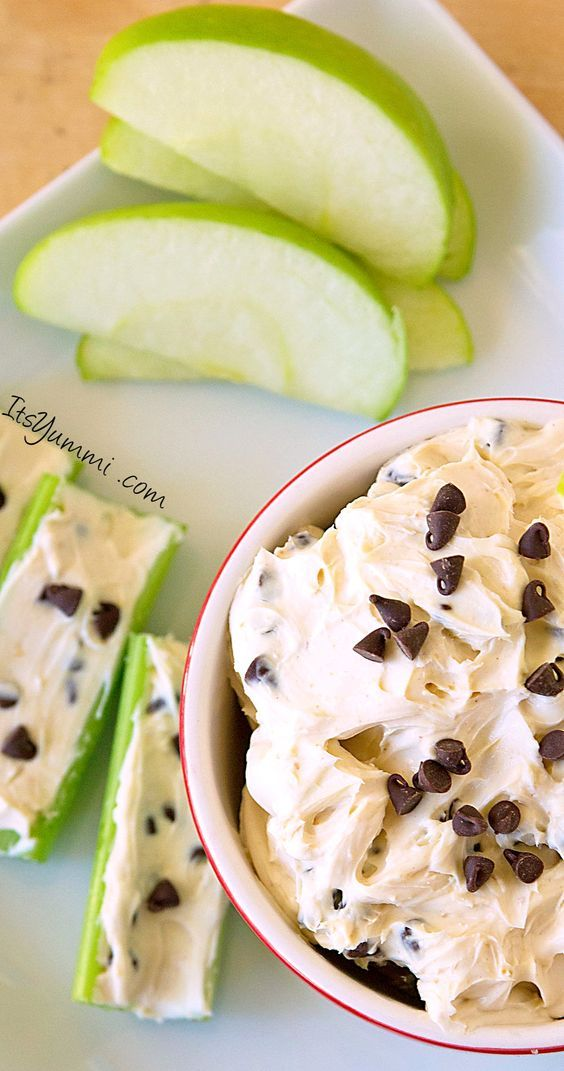 Low Fat Chocolate Chip Peanut Butter Dip - You can make this dip with regular peanut butter if you don't care about the fat and calories, but either way, it's the perfect snack!
