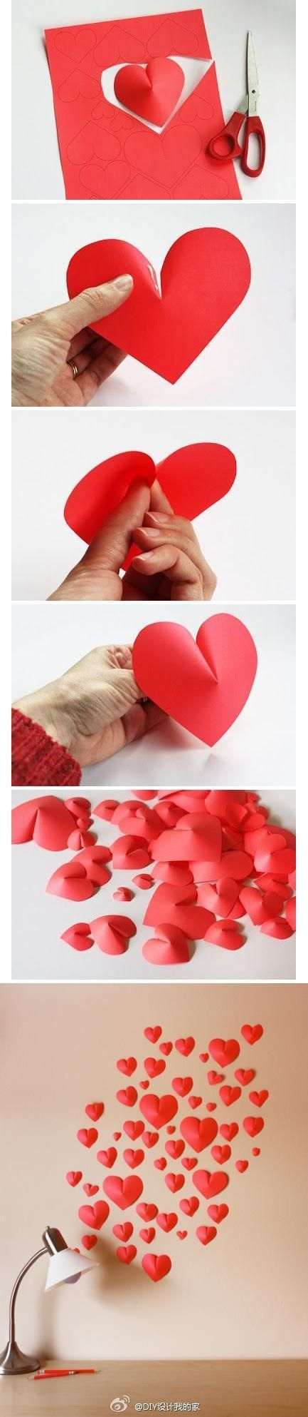 DIY Make a 3D Paper Heart for cute decorations- Usse them as confetti or hang them on strings and attach to the ceiling too!