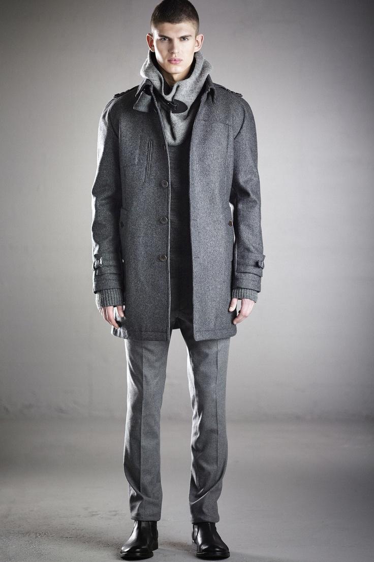 Miller coat, Dante sweater, Vonnegut hooded neck, Joyce suit pant. In stores in August 2013.