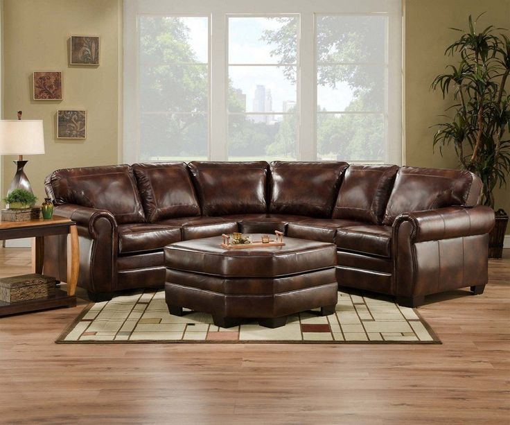 High Quality Encore Simmons Brown Leather Sectional Sofa Ottoman 9222D Part 6