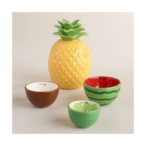 Cost Plus World Market Tropical Fruit Ceramic Measuring Cups ($9.74) ❤ liked on Polyvore featuring home, kitchen & dining, kitchen gadgets & tools, colored measuring cups, cost plus world market and ceramic measuring cups