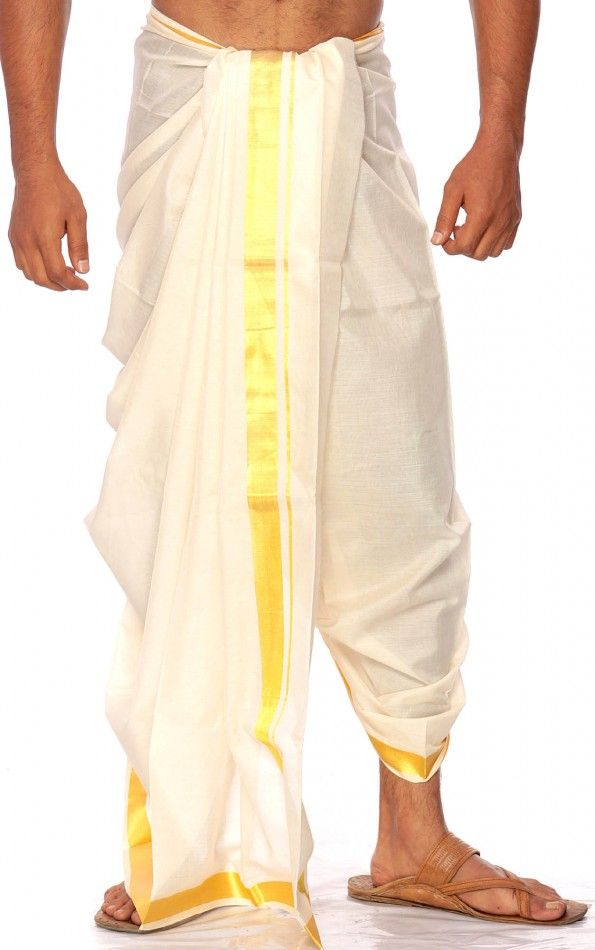 Dhoti - Traditional Male Indian Attire.  Wrap a long uncut cloth around their hips and between their legs. Men also wear loose white pants.