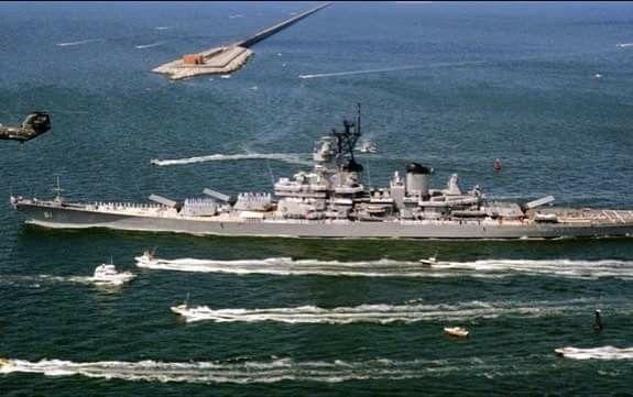 USS IOWA (1980's) in Norfolk, Virginia while  Crossing Hampton Bay Bridge Tunnel Complex #ussiowa #battleship #norfolk #virginia #hamptonbaybridge