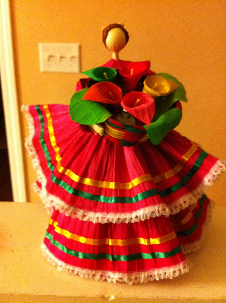 This is a doll I got in Mexico made out of corn husk.