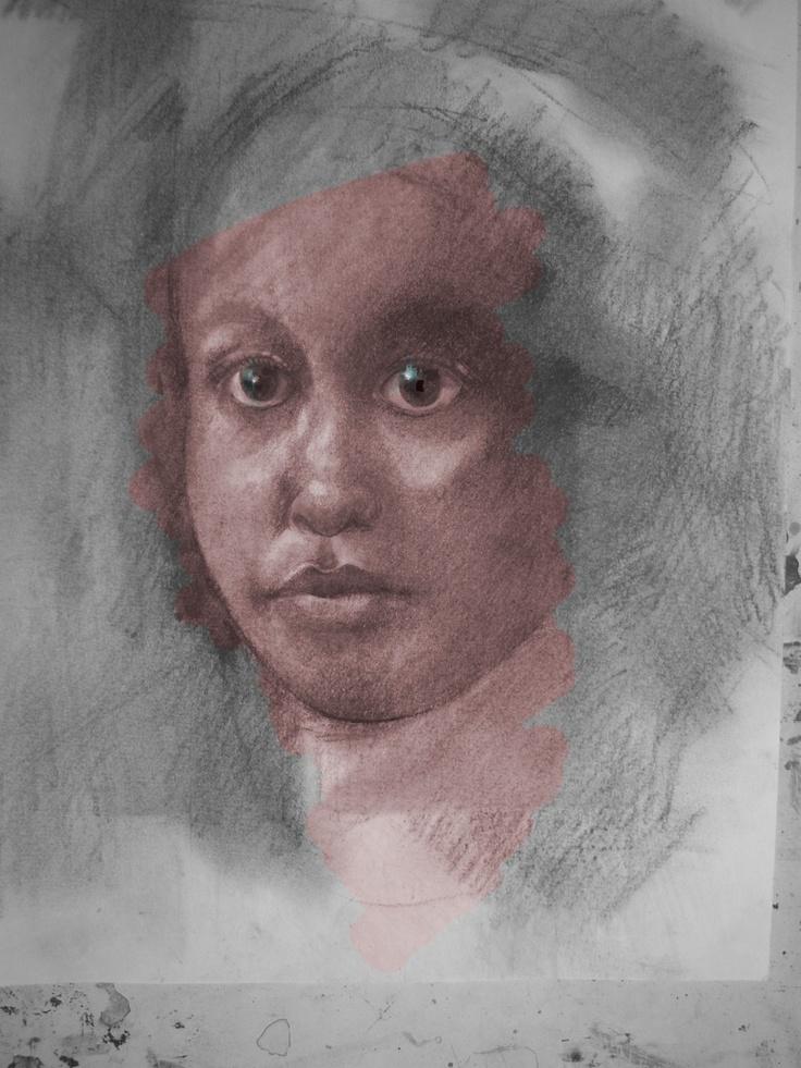 Conte crayon and digital art