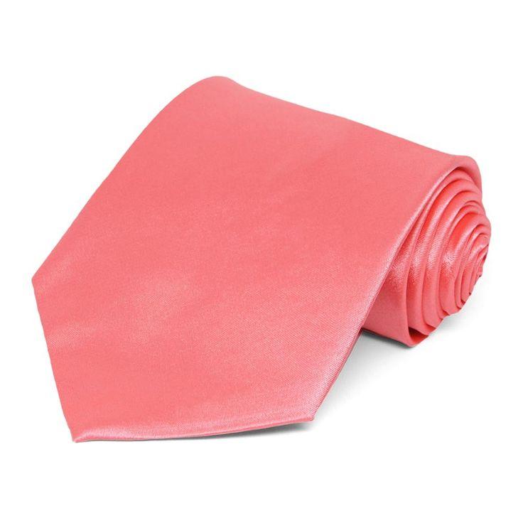 coral solid color necktie 595 each