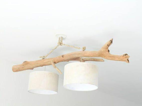 Lustre/plafonnier en bois flotté Lin 30cm création unique