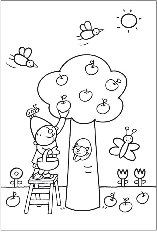 Kleurplaat Pompom: appelboom