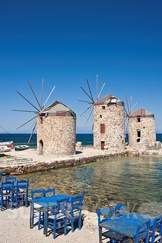 The Tambakika windmills in Chios, Greece