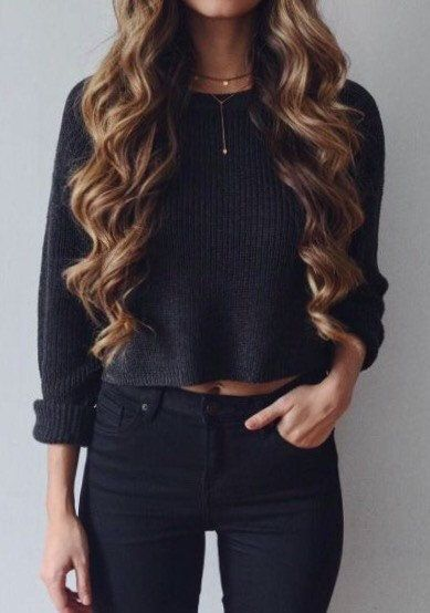 Midnight LINDY Crop Knit Sweater