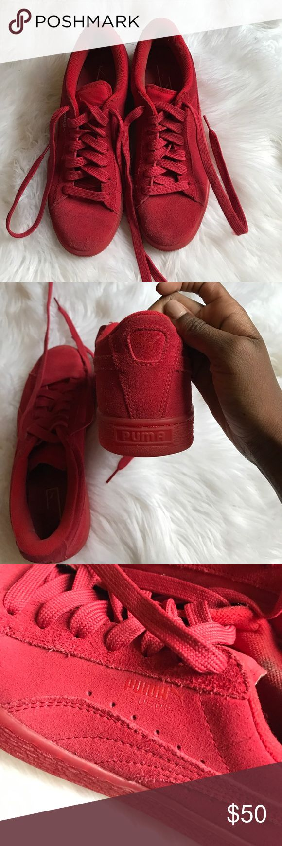 Red suede Pumas In great condition! I've barely worn these. Will come in original box. Puma Shoes Sneakers