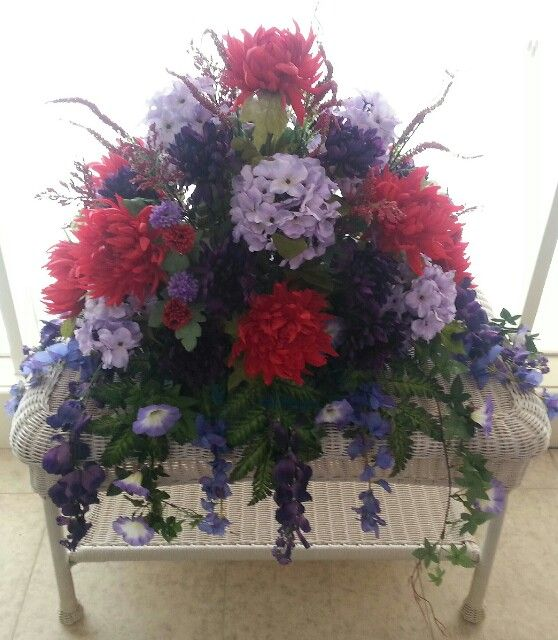 17 Best Images About Headstone Ideas On Pinterest Deco Mesh Hanging Baskets And Grave Decorations