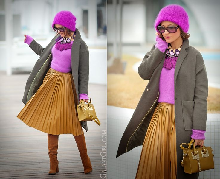 pleated faux leather skirt Asos, Asos skirt, Galant girl, Ellena Galant, mix of colors,
