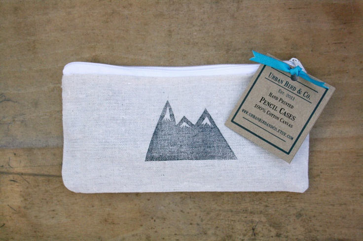 Mountain Pencil Case Back to School Zippered Canvas Pouch Block Print in Black ink.