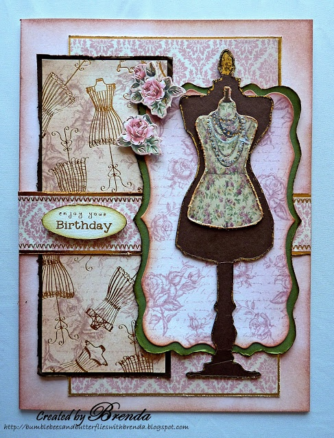 dress form pattern cards | Bumblebees and Butterflies: Dress Form card - Kanban. Card made using Kanban Bella Fiori paper craft collection for female cards.