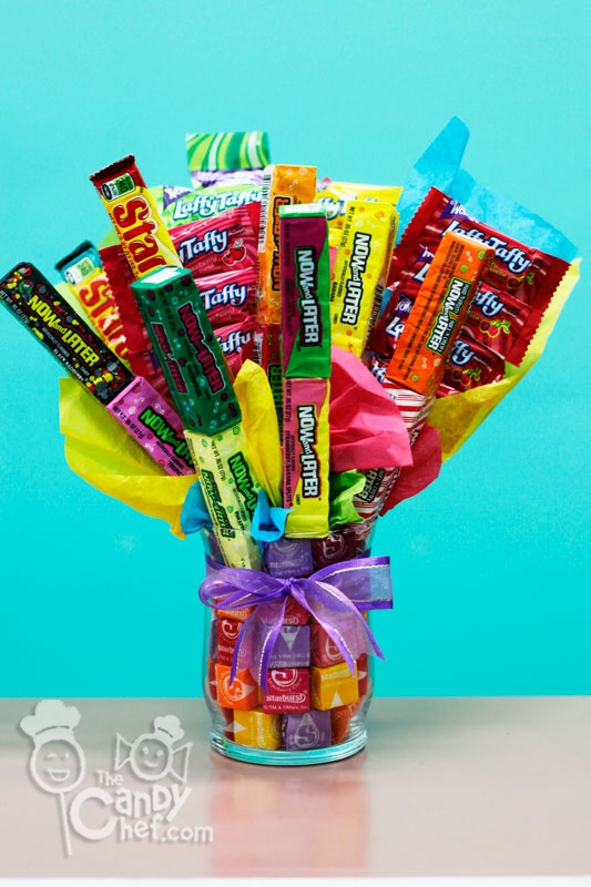 how to make a candy bouquet in a vase