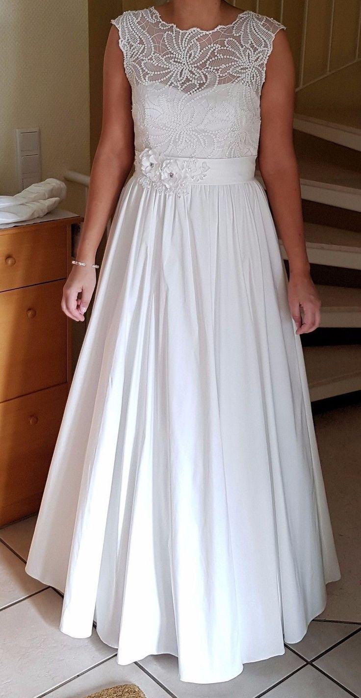 Brautkleid Spitze Bolero Reifrock 36/38 Hochzeitskleid Brautgürtel ivory S/M | eBay
