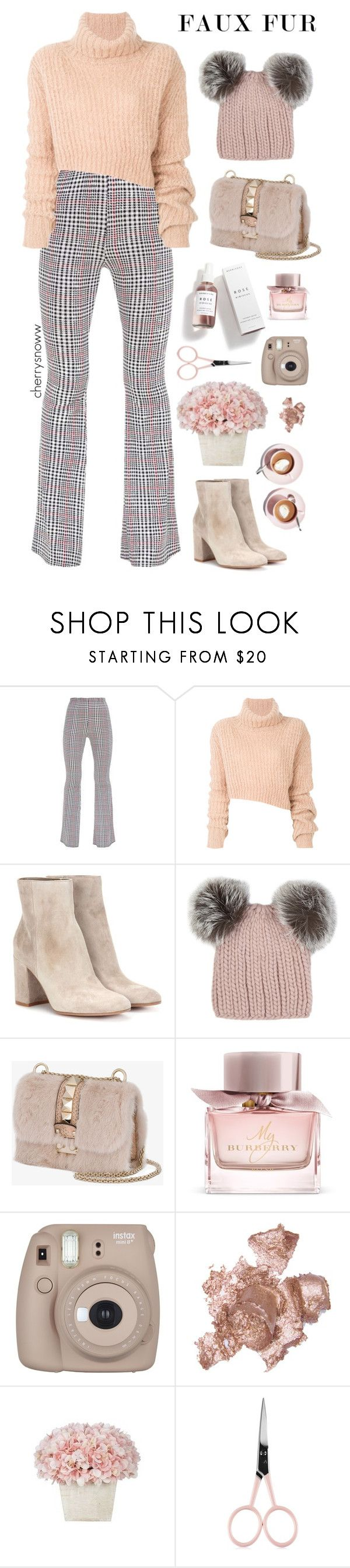 """""""Faux fur"""" by cherrysnoww ❤ liked on Polyvore featuring Ann Demeulemeester, Gianvito Rossi, Eugenia Kim, Valentino, Burberry, Herbivore, Fujifilm, By Terry, Anastasia Beverly Hills and Martha Stewart"""