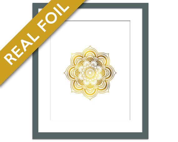 Mandala 1 Art Print - Gold Foil Print - Buddhist Art - Gold Foil Mandala - Hindu Art Print - Meditation Art - Yoga Art - Namaste - Zen Art