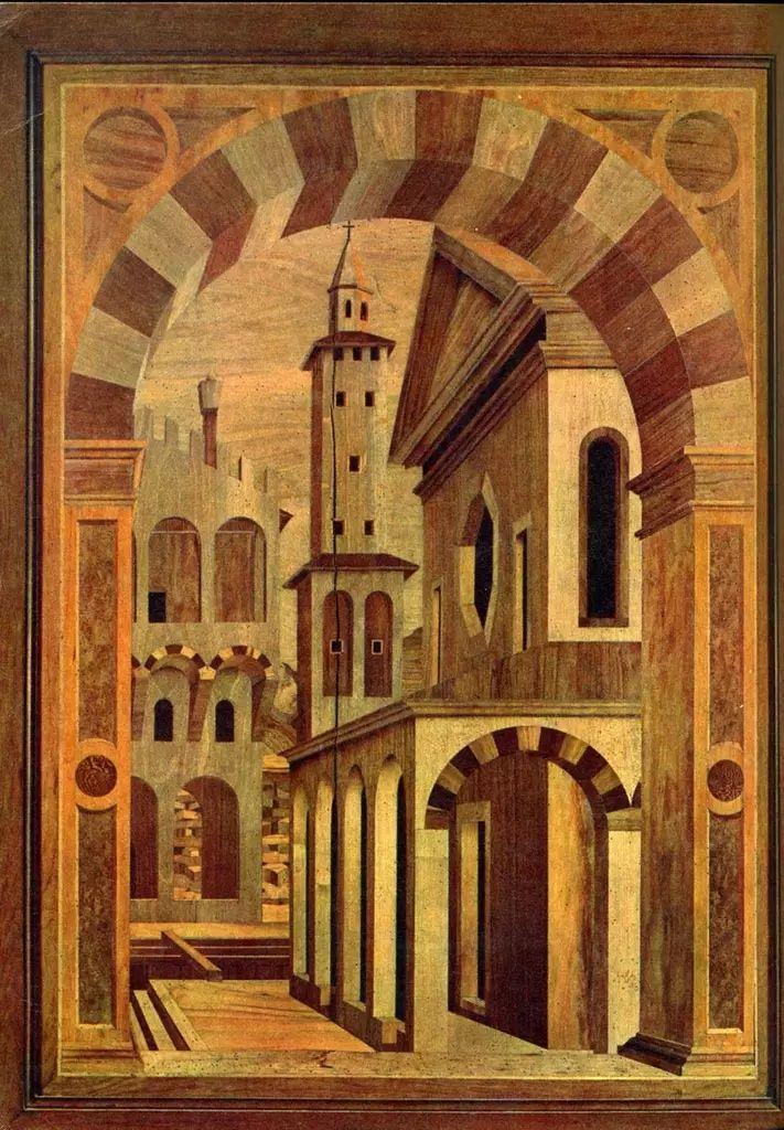 Città ideale, c. 1475. Materiali; tarsia lignea. Collocazione; Duomo, Padova