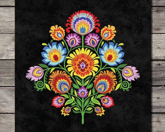 Polonais Folk Art Print Wycinanki fleur Papercut style Floral botanique cadeau au choix de 7 Folk couleurs 5 x 7 8 x 10 ou 11 x 14