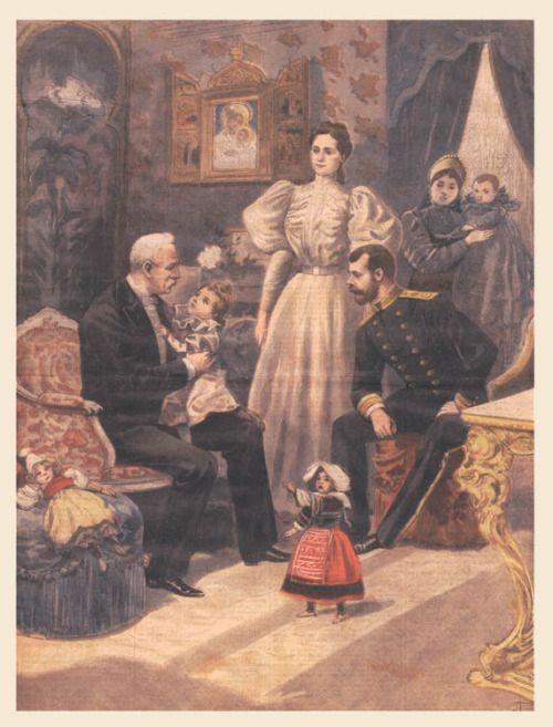 """imperial-Rusland: """"Illustratie die de Franse president tijdens zijn bezoek aan Rusland en de ontmoeting met keizerlijke familie.  De president houdt groothertogin Olga op zijn knie, als tsarenpaar kijk op, hun tweede kind, groothertogin ..."""