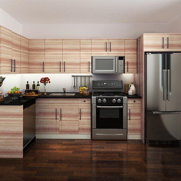 kitchen cabinets, melamine, red brown, OP14-M03