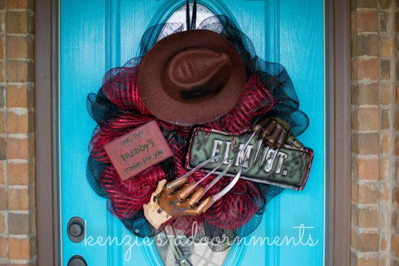 Freddy Krueger, Freddy Krueger Wreath, Nightmare on Elm Street Wreath, Horror Movie Decor, Scary Halloween Wreath
