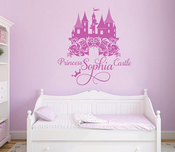 Princess Castle Personalized Name Decal, Nursery, Girlu0027s Room Decal, Damask Castle  Wall Sticker