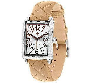 Judith Ripka Stainless Steel Quilted Leather Tank Watch