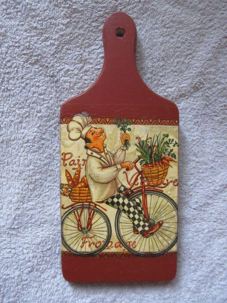 002 - Deska do krojenia, kucharz na rowerze