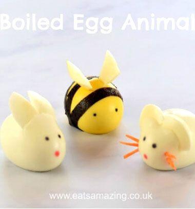 DIY Boiled egg animals - bunny,mouse and bee // Állatok főtt tojásból - egér, nyuszi és méhecske (kreatív tálalás) // Mindy - craft tutorial collection // #crafts #DIY #craftTutorial #tutorial