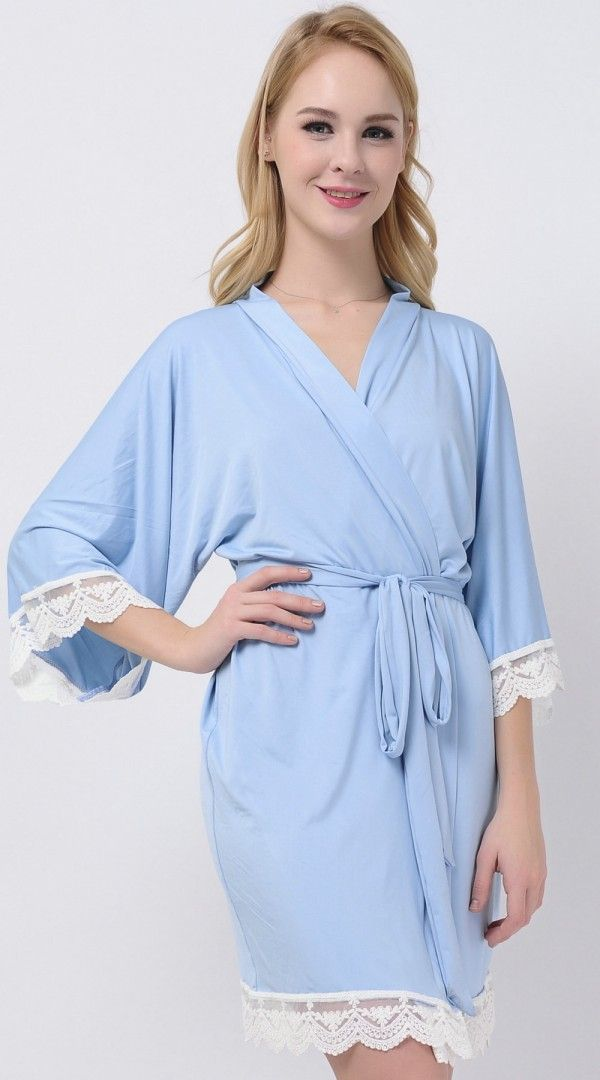 Light Blue Jersey Stretchy Robes Bridesmaid Robes Cheap Robes Kimono Robes Cheap Bridesmaid Gifts Modal Bridal Party Robes
