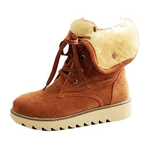 Oferta: 25.9€. Comprar Ofertas de Minetom Mujer Invierno Botines Botas De Nieve Botas De Piel Calentar Casual Plano Zapatos Marrón EU 38 barato. ¡Mira las ofertas!