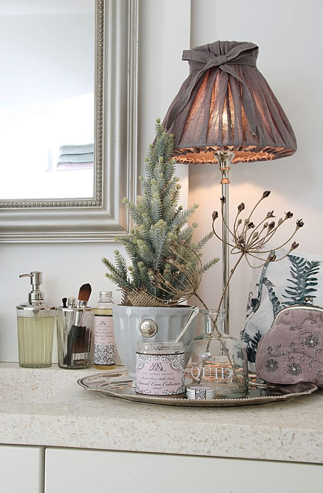 Lene Bjerre - AUTUMN 2013. MINA mirror, MYRLE LIGHTING lamp with BOW LINEN shade, ANNELINE BATH dispenser and tumbler and NOTILDE flower pot.