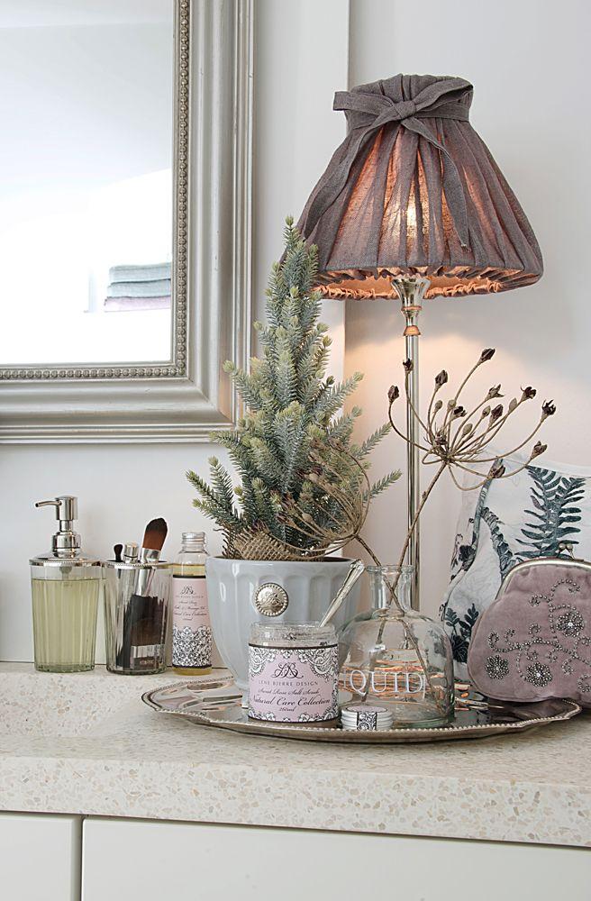 Lene Bjerre - AUTUMN 2013. MINA mirror, MYRLE LIGHTING lamp with BOW LINEN shade, ANNELINE BATH dispenser and tumbler and NOTILDE flower pot.