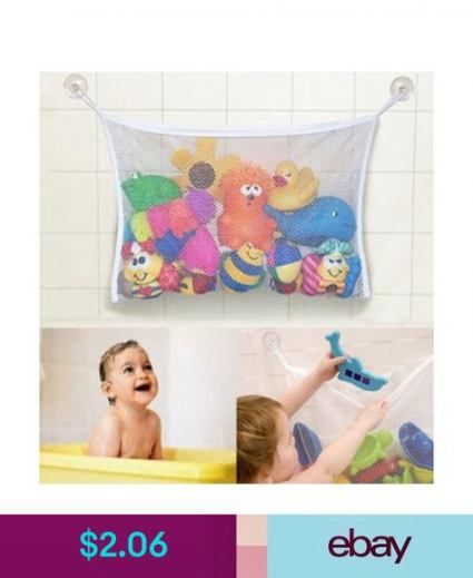 Baby Kids Bath Time Tidy Storage Toy Suction Cup Bag Mesh Bathroom Organiser Net