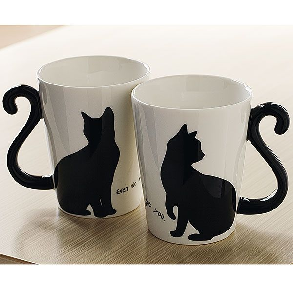 Black Cat Tail Mugs