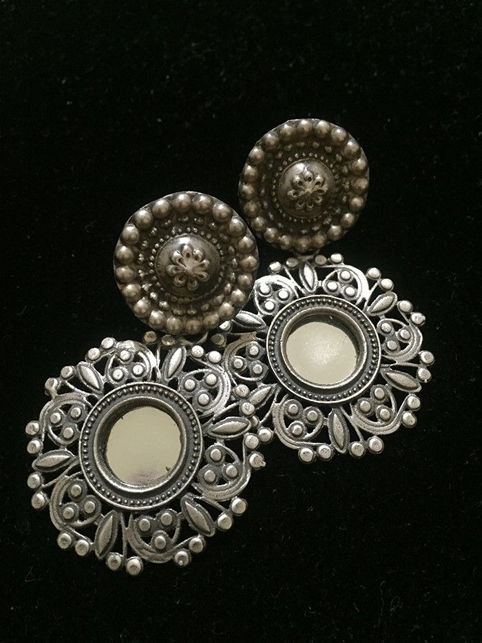 Circular Glass Silver Earrings
