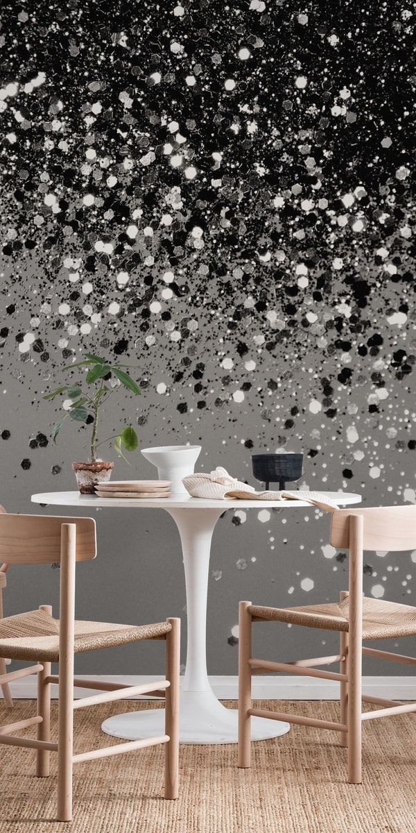 Silver Gray Glitter 1 Wall Mural From Happywall Glamorous Happywall Silverglitter Blackandwhite Wallpapers Stripe Wallpaper Bedroom Decor Plain Wallpaper