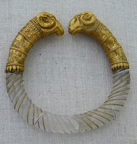 Ram's head rock-crystal bracelet styled like a torque (ca. 330-300 B.C.). Found in Macedonia, near   Thessaloniki.