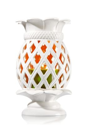 "Ceramic Pineapple - 3-Wick Candle Luminary - Bath & Body Works - Tropical & tasteful! A white ceramic pineapple on a pretty pedestal adds the perfect ""aloha"" touch to your d�cor. Pair with your favorite 3-Wick Candle for a welcoming glow."